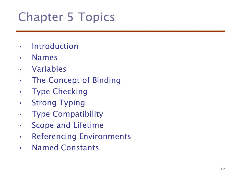 Chapter 5 Topics Introduction Names Variables The Concept of Binding