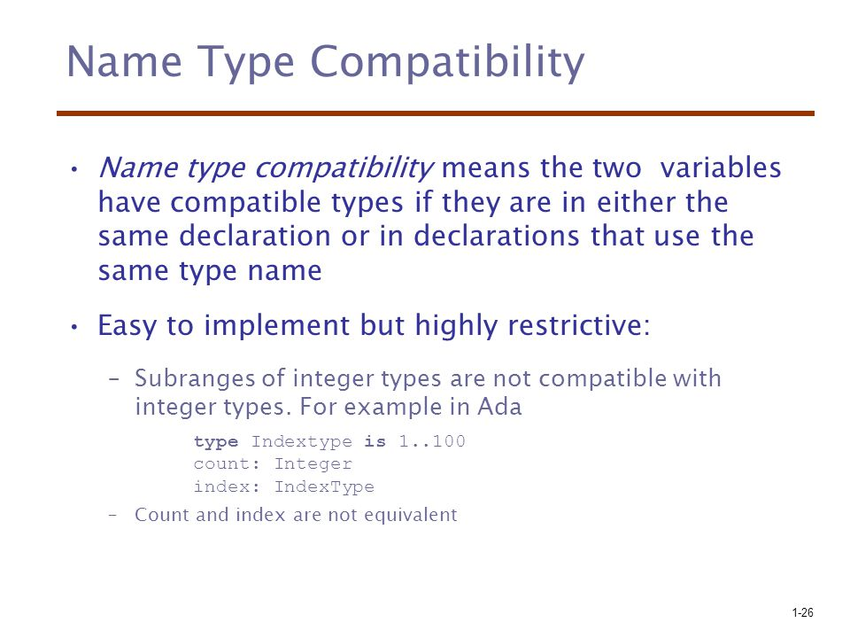 Name Type Compatibility