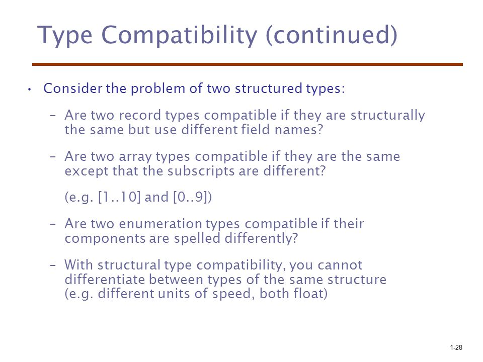 Type Compatibility (continued)