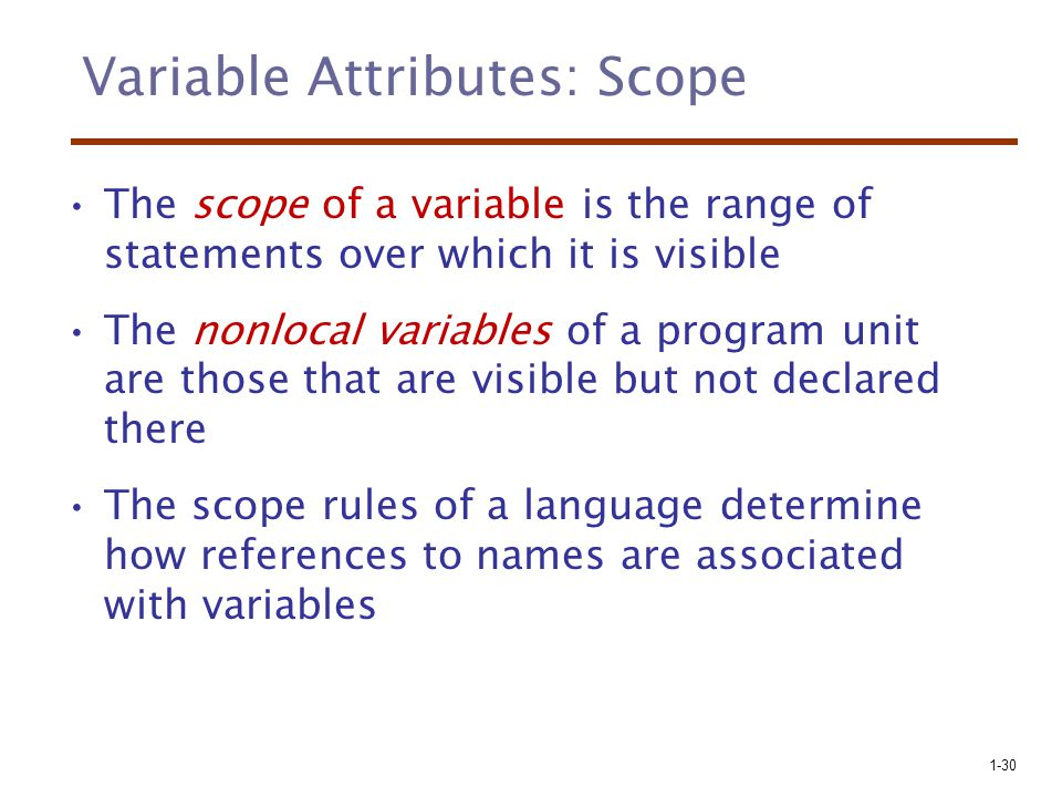 Variable Attributes: Scope
