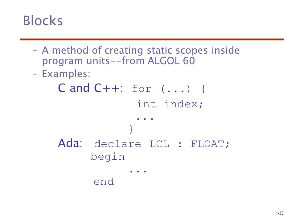 Blocks C and C++: for (...) { int index; ... }
