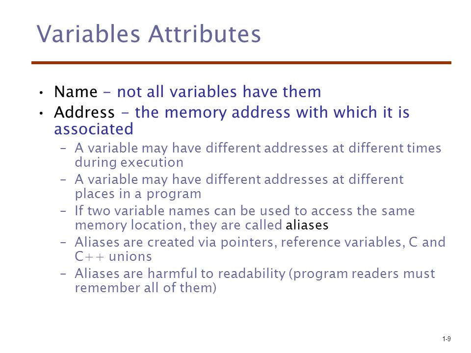 Variables Attributes Name - not all variables have them