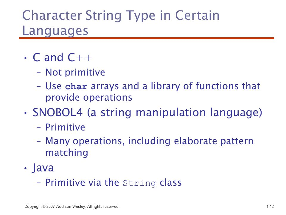 Character String Type in Certain Languages