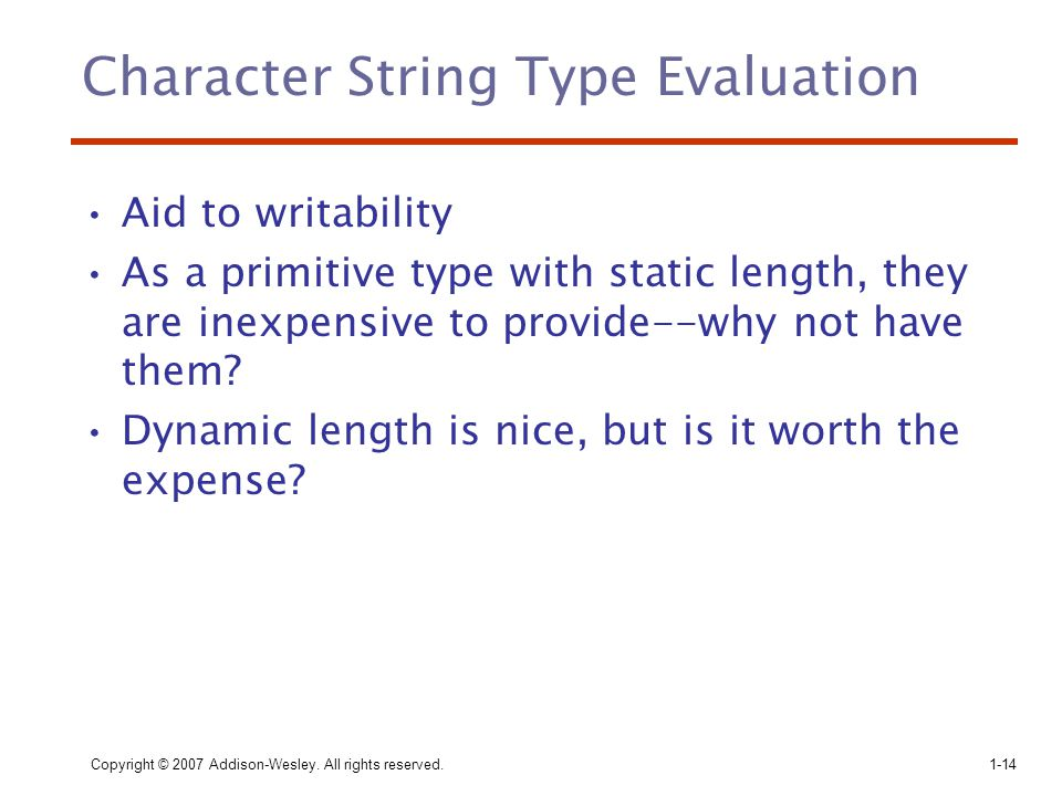 Character String Type Evaluation