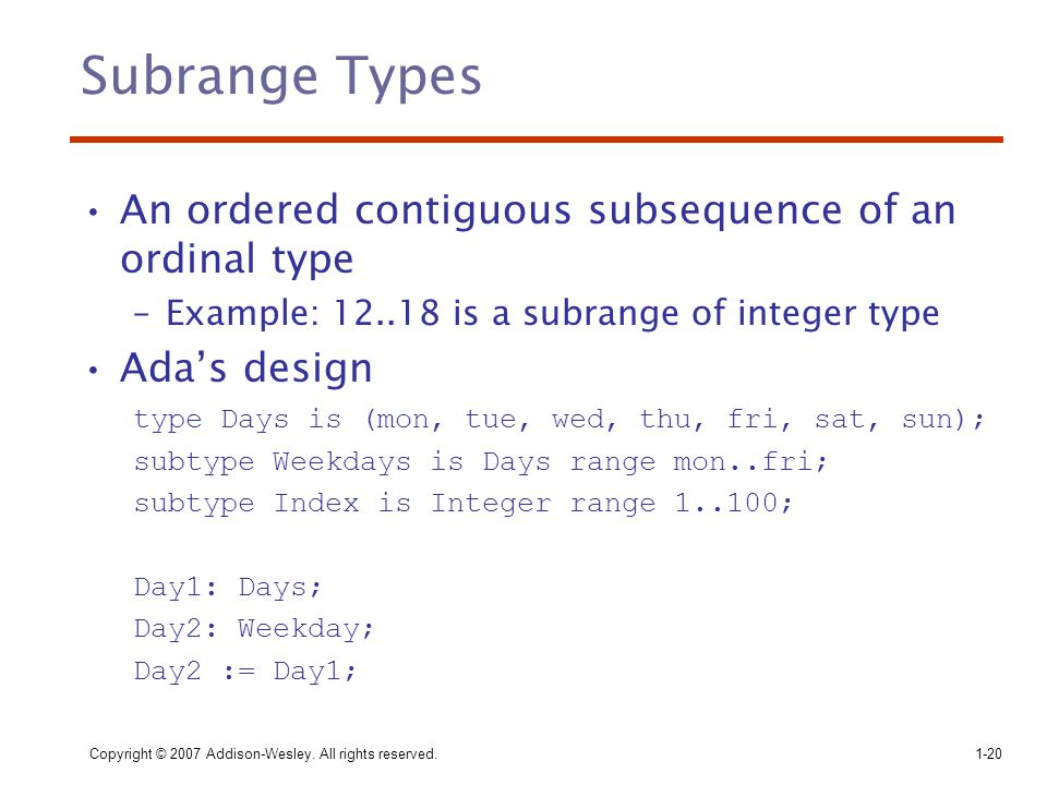 Subrange Types An ordered contiguous subsequence of an ordinal type