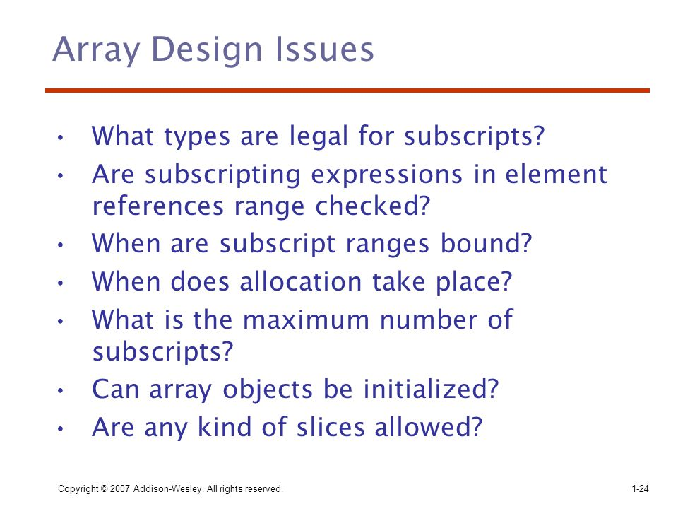 Array Design Issues What types are legal for subscripts