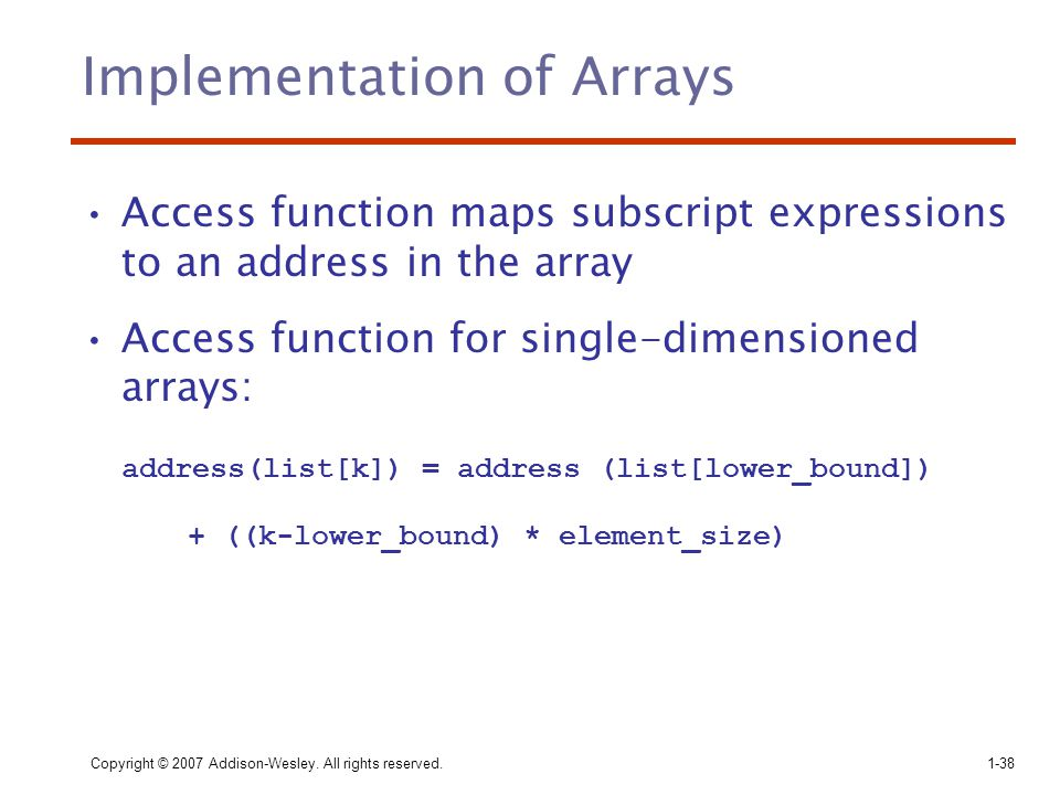 Implementation of Arrays