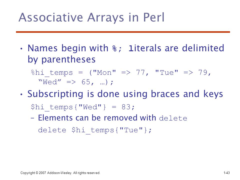 Associative Arrays in Perl