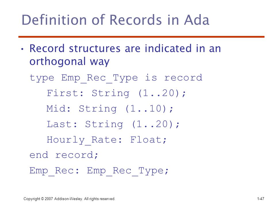 Definition of Records in Ada