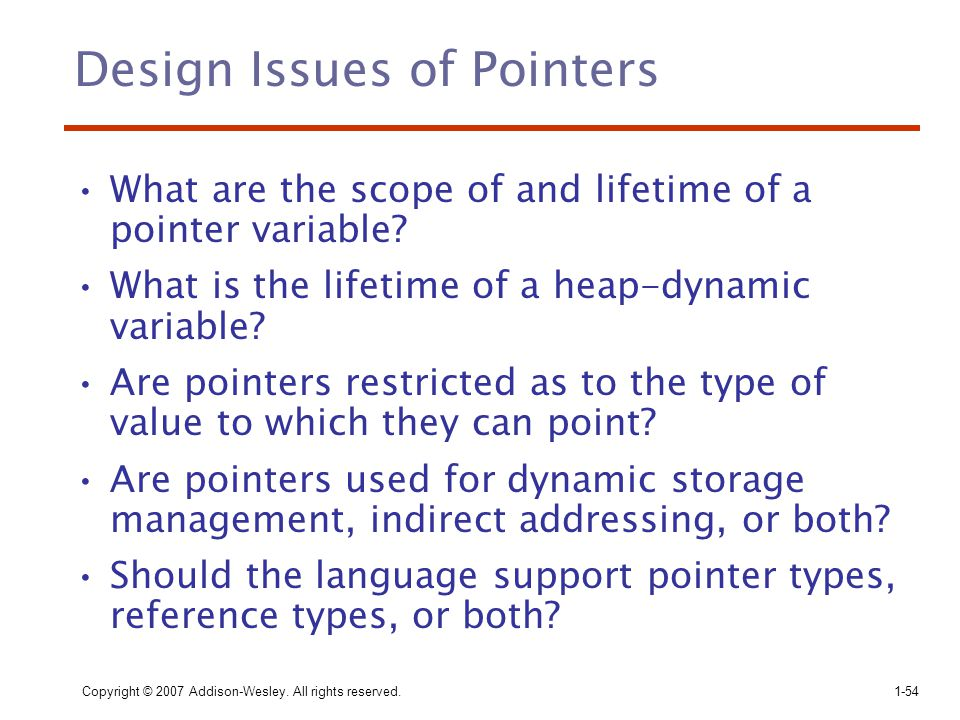 Design Issues of Pointers