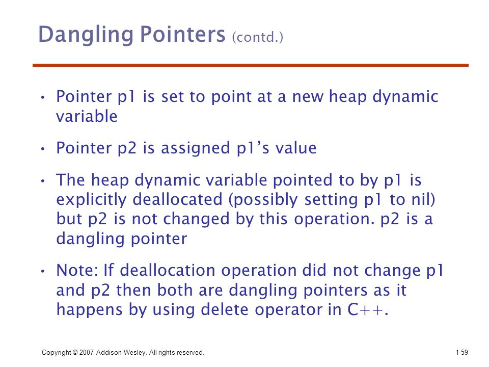 Dangling Pointers (contd.)