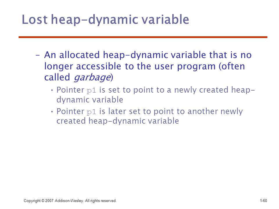 Lost heap-dynamic variable