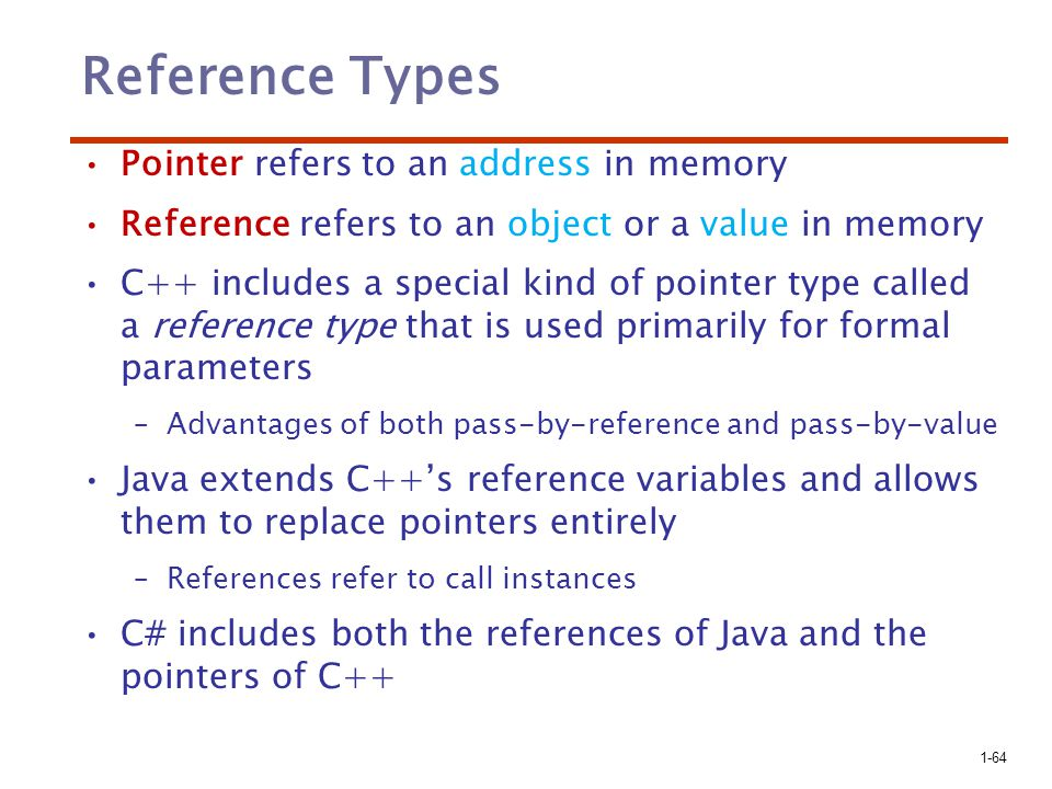 Reference Types Pointer refers to an address in memory