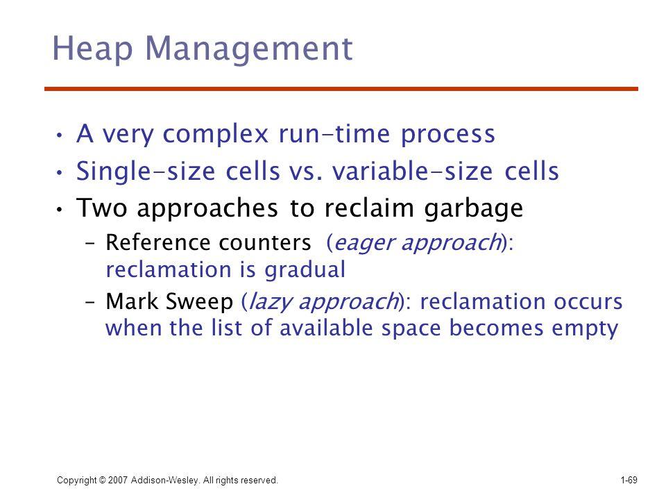 Heap Management A very complex run-time process