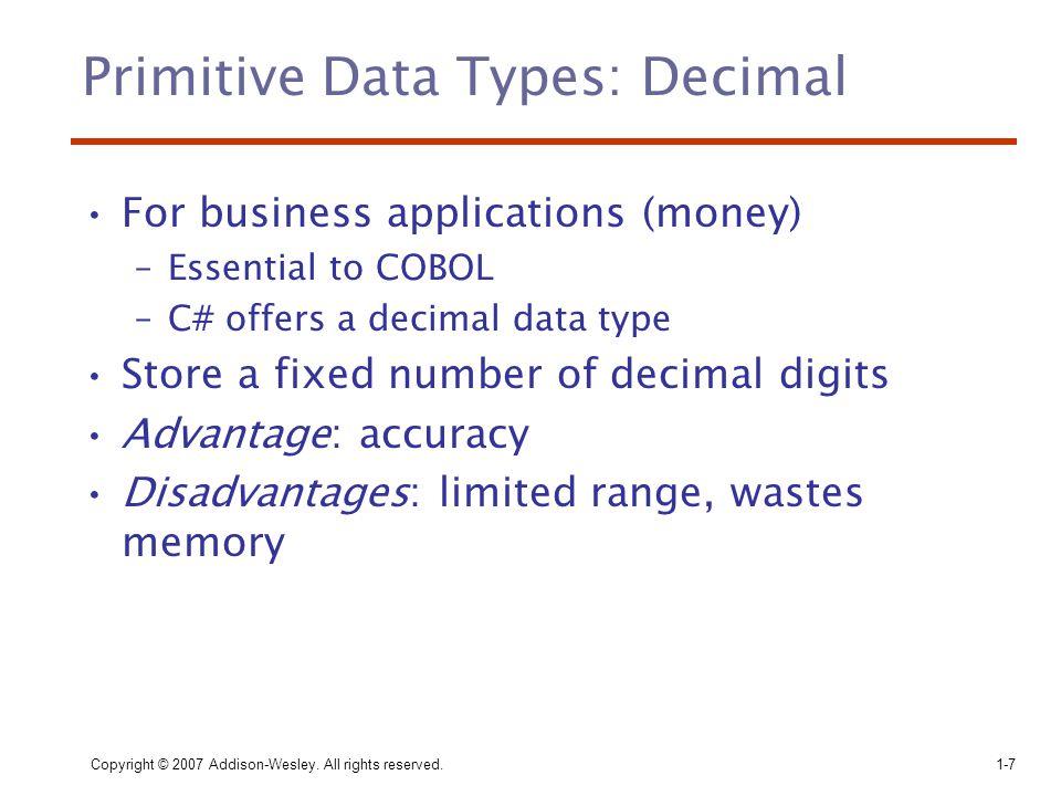 Primitive Data Types: Decimal