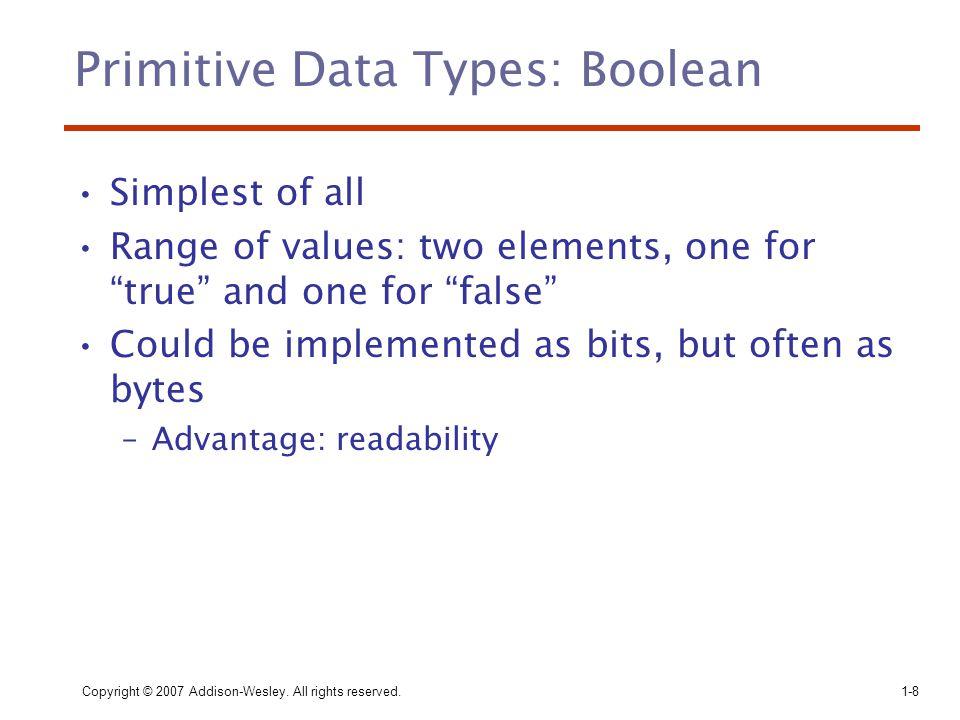 Primitive Data Types: Boolean