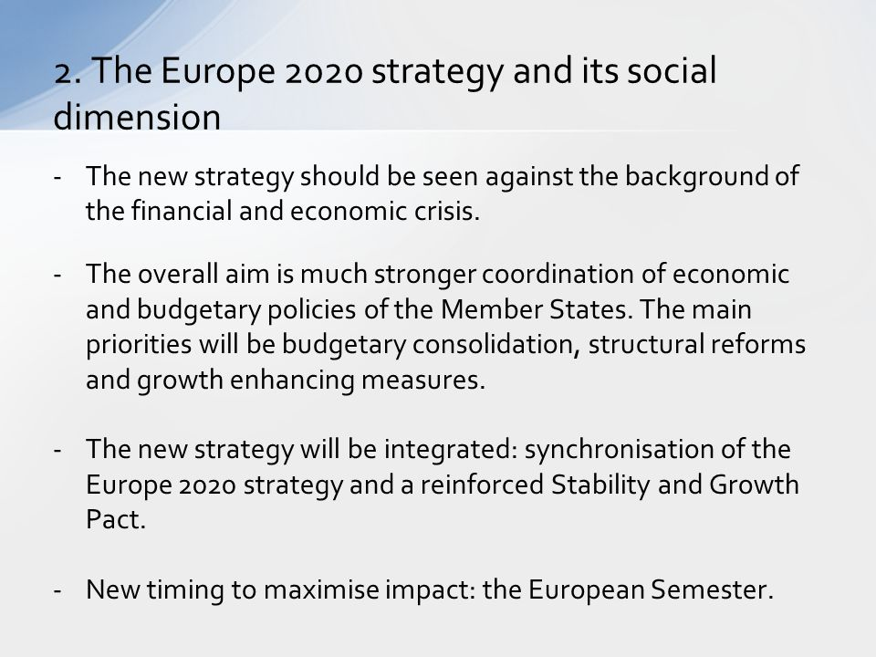 2. The Europe 2020 strategy and its social dimension