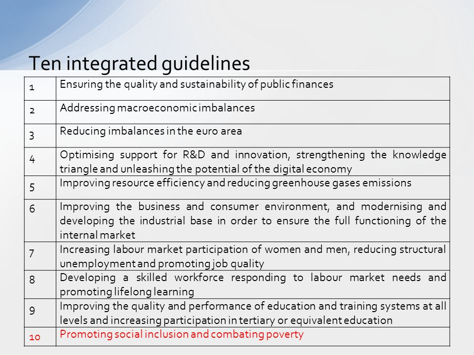 Ten integrated guidelines