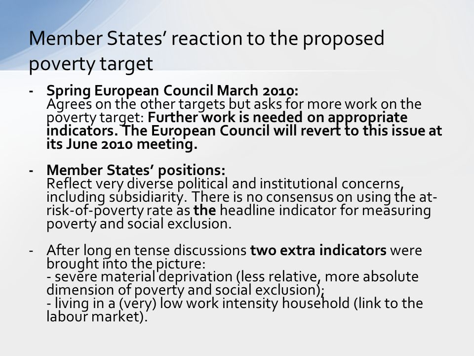 Member States' reaction to the proposed poverty target