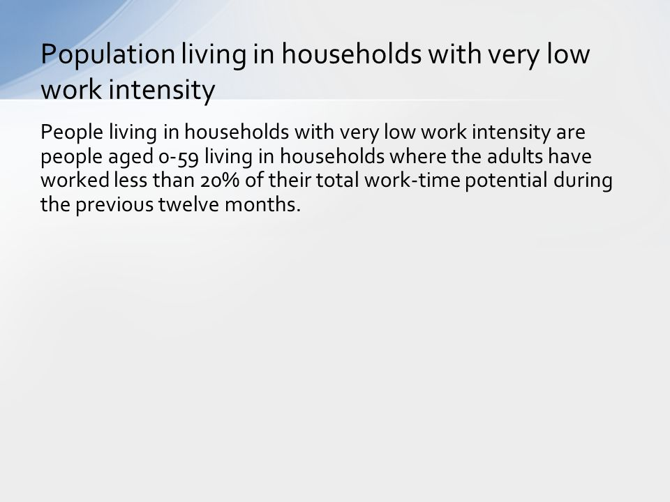 Population living in households with very low work intensity