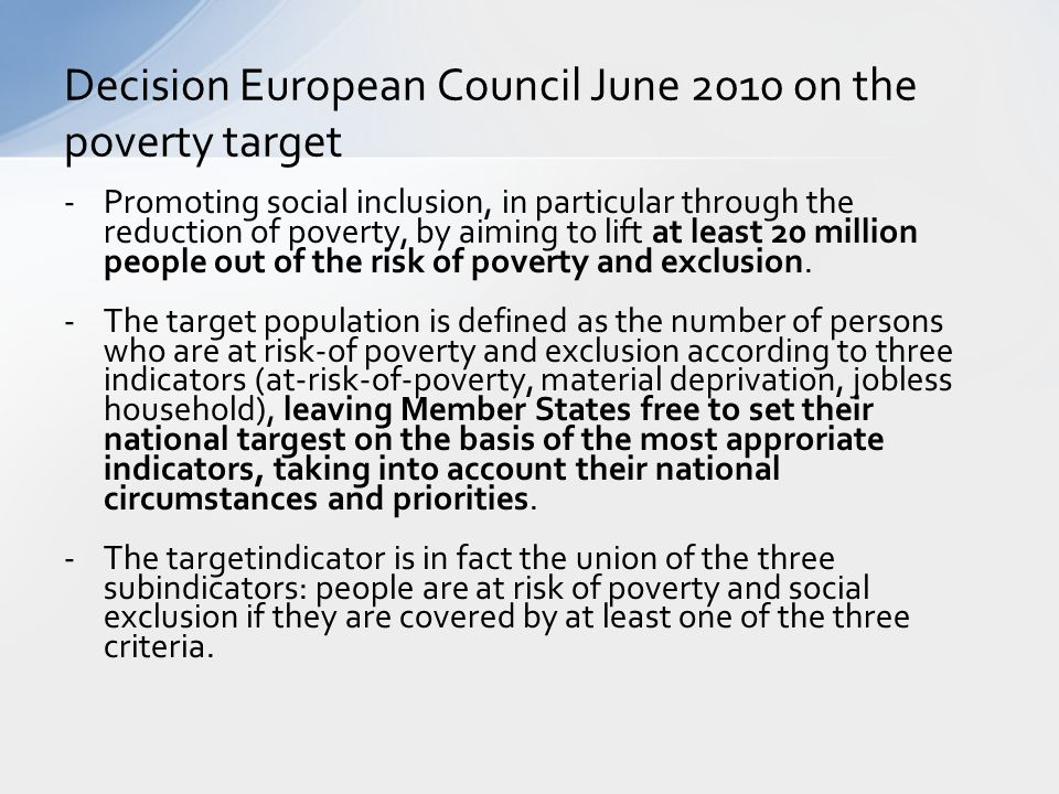 Decision European Council June 2010 on the poverty target