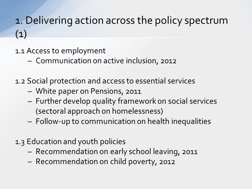 1. Delivering action across the policy spectrum (1)