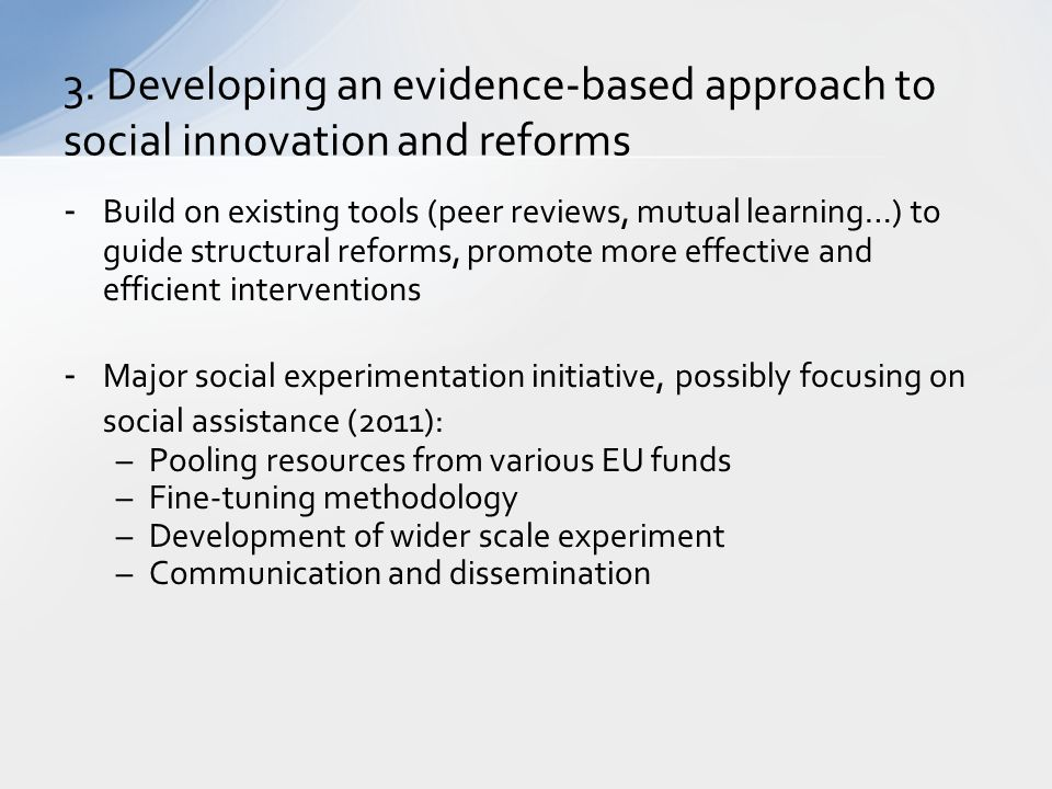 3. Developing an evidence-based approach to social innovation and reforms