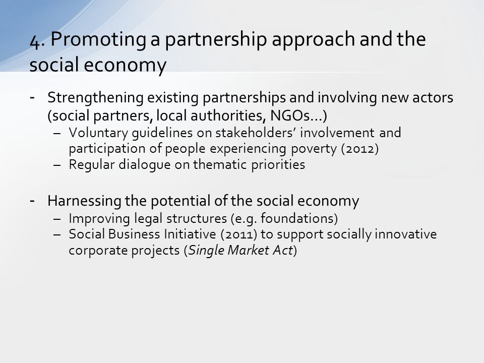4. Promoting a partnership approach and the social economy