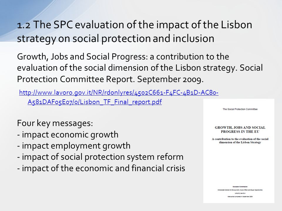 1.2 The SPC evaluation of the impact of the Lisbon strategy on social protection and inclusion