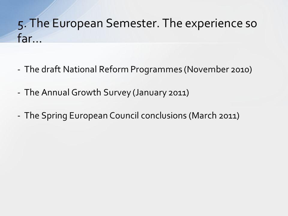 5. The European Semester. The experience so far…