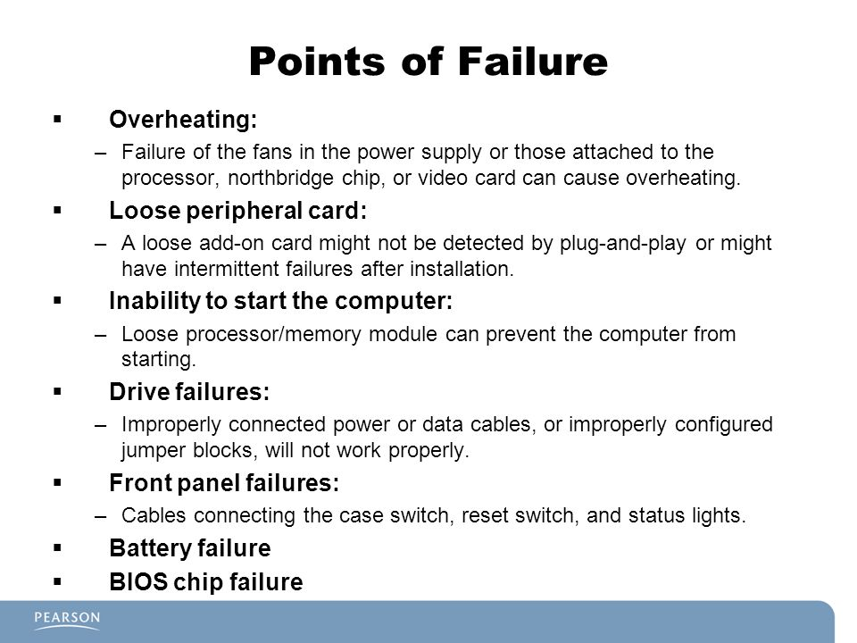 Points of Failure Overheating: Loose peripheral card: