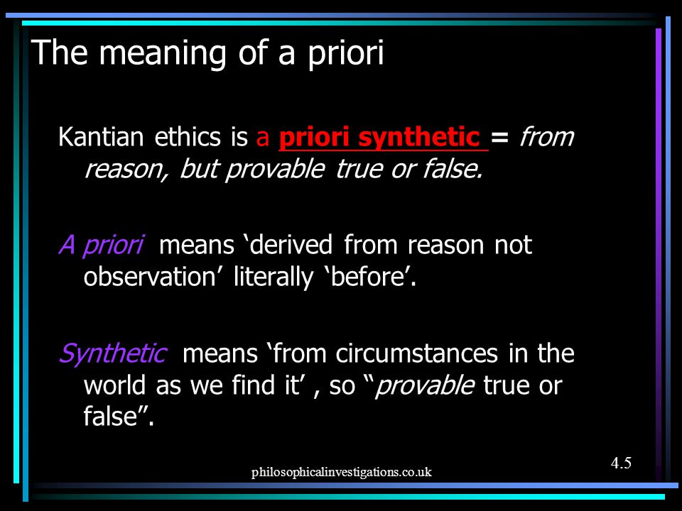 The meaning of a priori