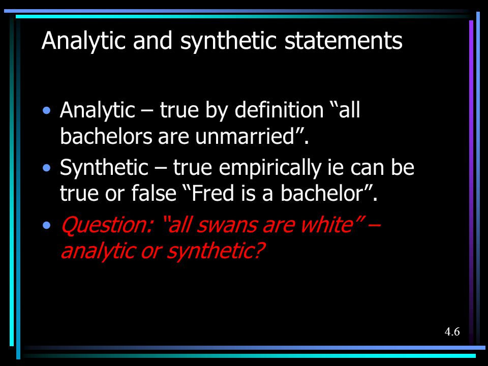 Analytic and synthetic statements