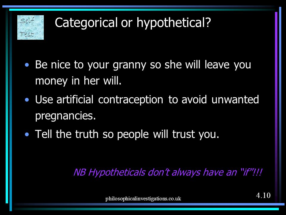 Categorical or hypothetical