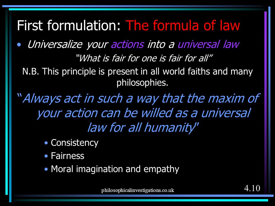 First formulation: The formula of law