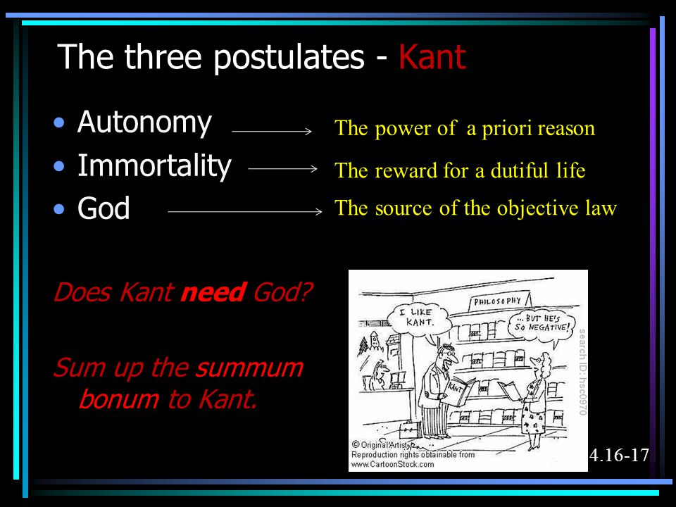 The three postulates - Kant