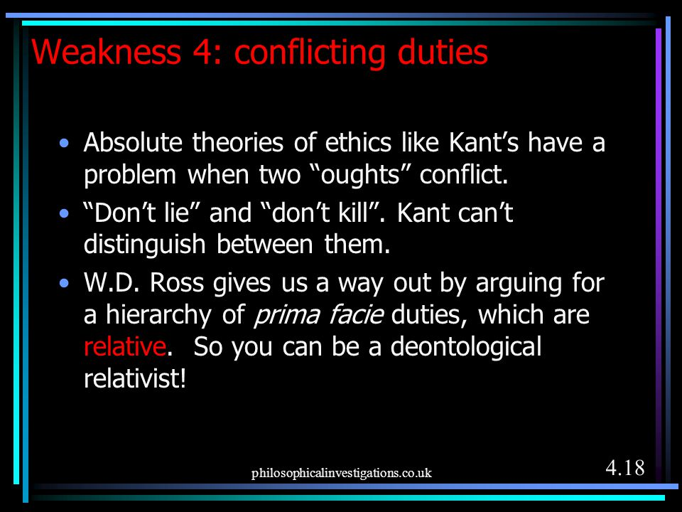 Weakness 4: conflicting duties