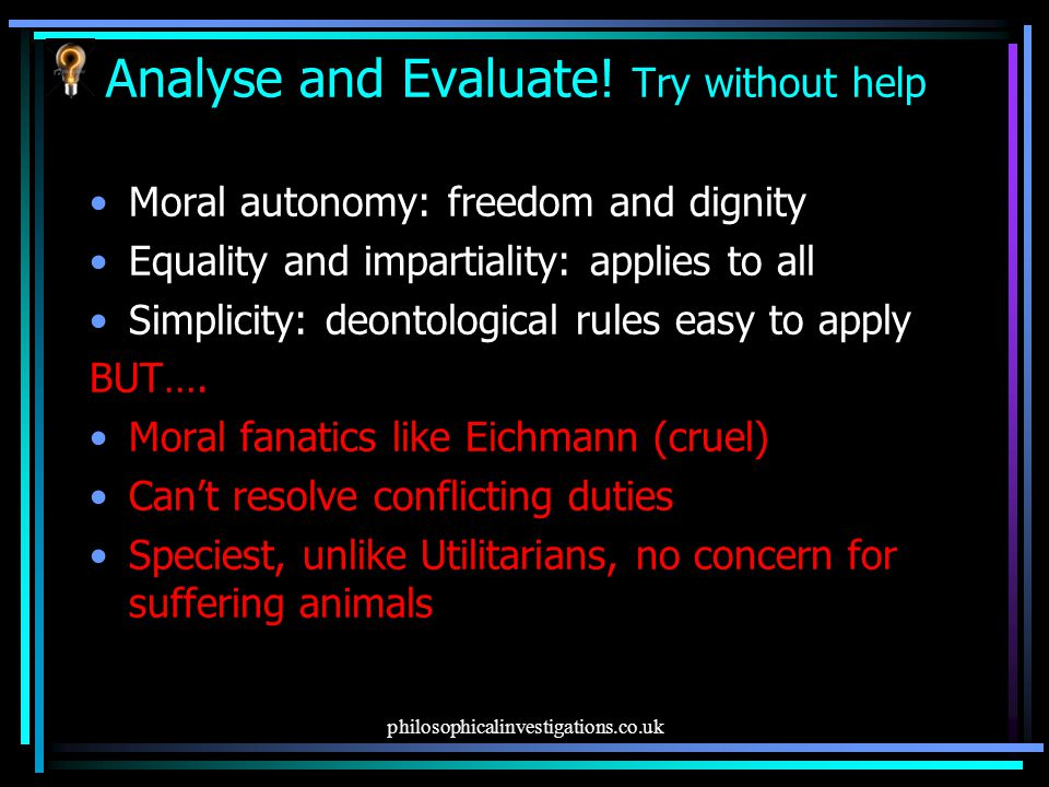 Analyse and Evaluate! Try without help