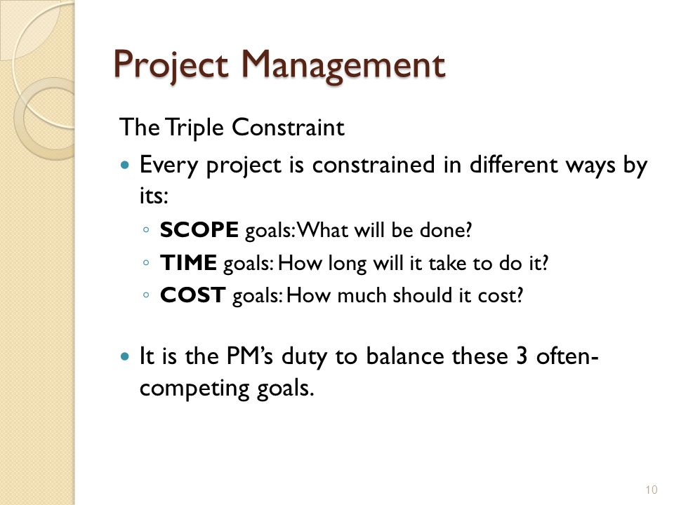 Project Management The Triple Constraint