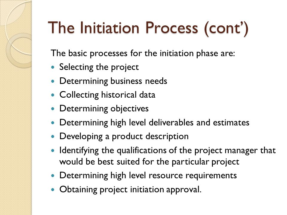 The Initiation Process (cont')