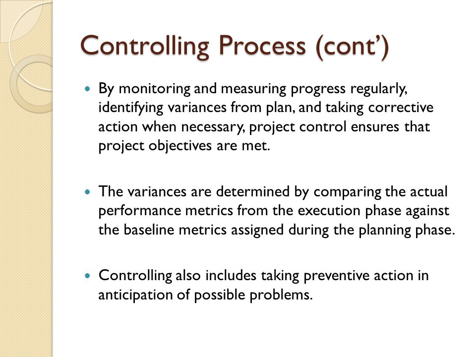 Controlling Process (cont')