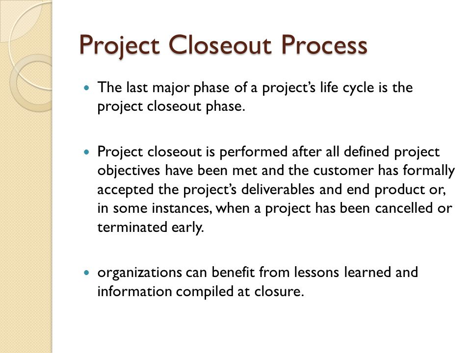 Project Closeout Process