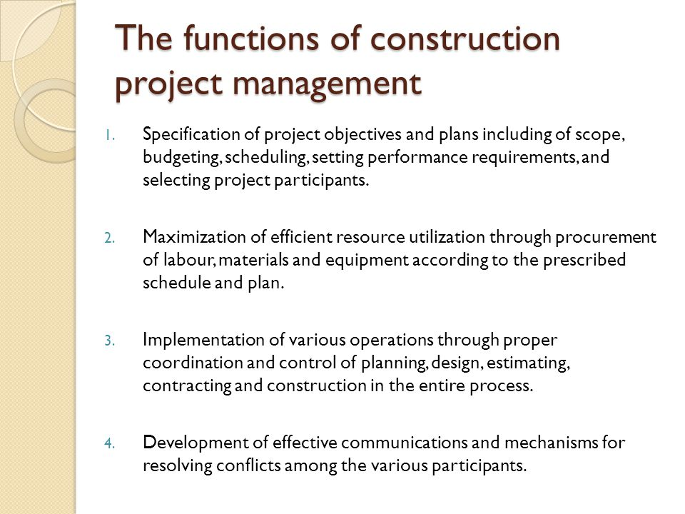 The functions of construction project management
