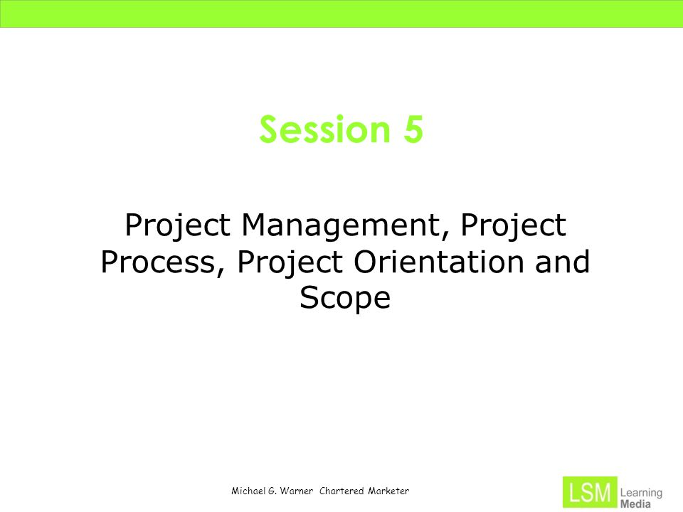 Project Management, Project Process, Project Orientation and Scope