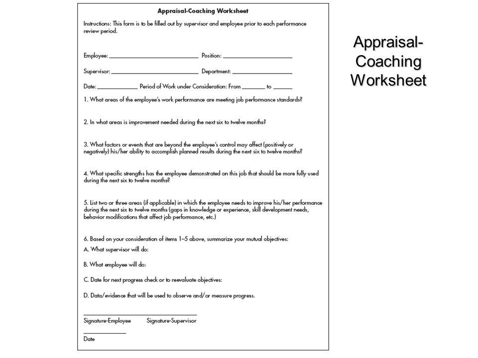 Appraisal-Coaching Worksheet
