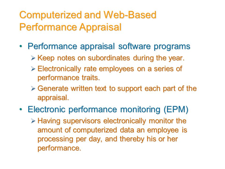 Computerized and Web-Based Performance Appraisal