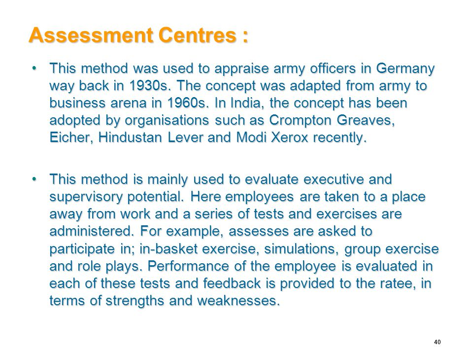 Assessment Centres :
