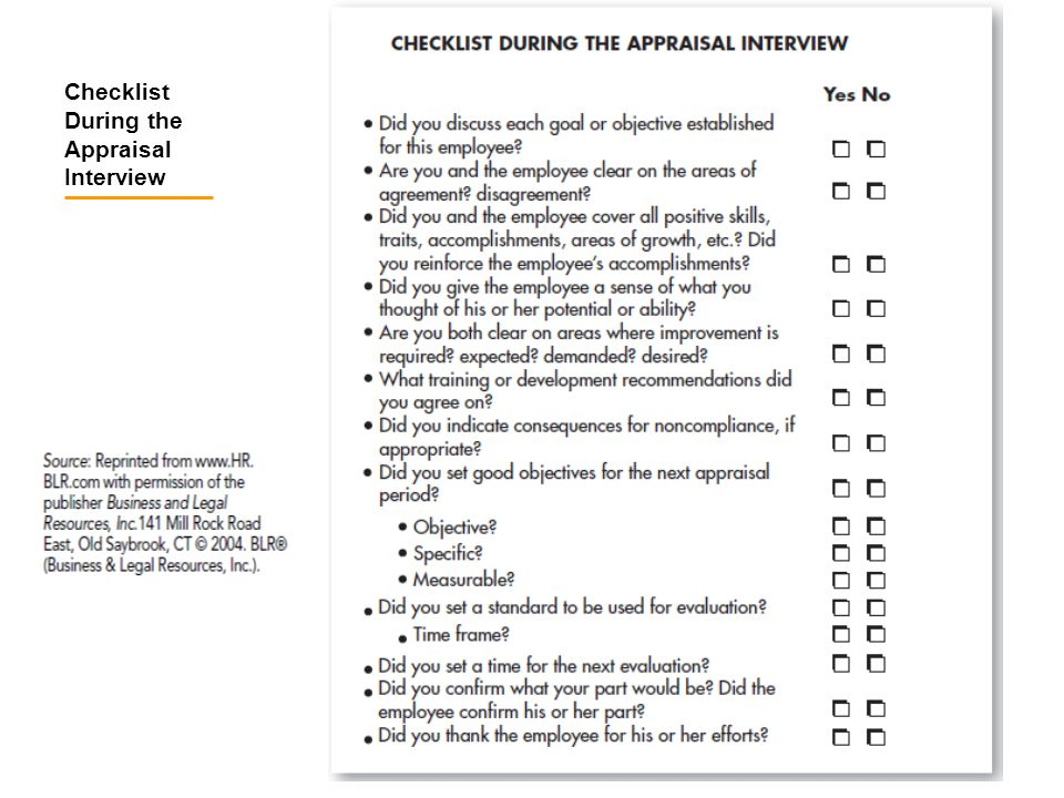 Checklist During the Appraisal Interview