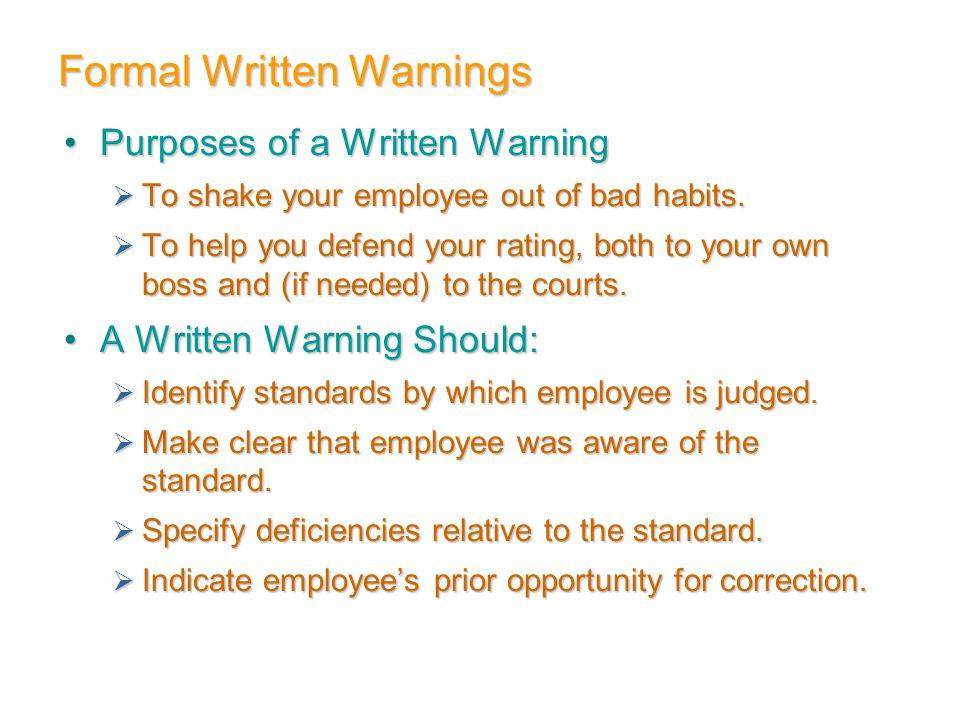 Formal Written Warnings