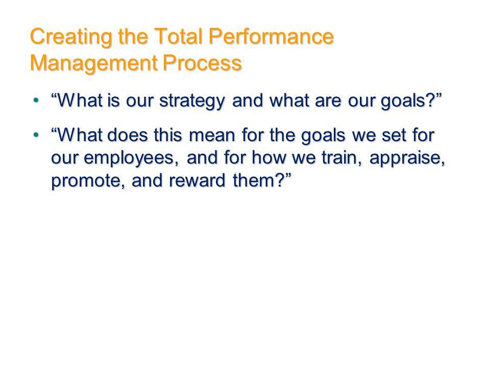 Creating the Total Performance Management Process